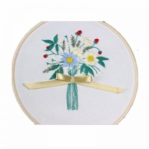 5a656daa DIY Ribbon Flowers Embroidery Set with Frame for Beginner Needlework Kits  Cross Stitch Series Arts Crafts Sewing Decor