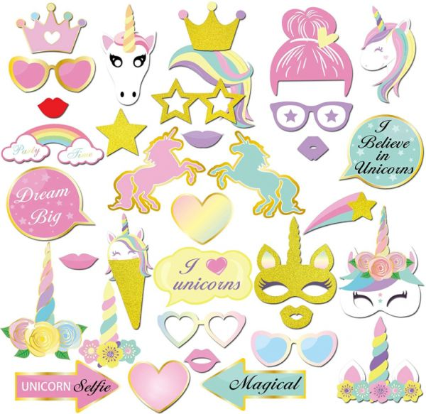 Unicorn Party Supplies 35count Glitter Unicorn Photo Booth Props