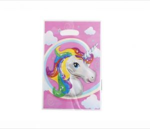 10 Pack Unicorn Party Favor Bags Plastic Gift Pink Goody Treat For Baby Shower Girls Birthday Decor