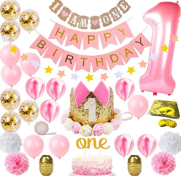 Decorations For Girl Mega Bundle Pink And Gold Girls Theme Kit Set First Bday Tiara Crown Hat One Cake Topper Foil Confetti Marble Balloons Banner