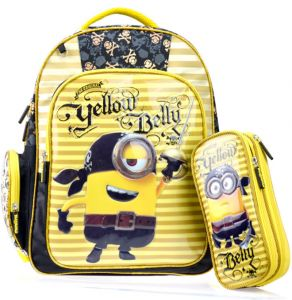 3D Minions stereo cartoon pupils school bag breathable waterproof burden children  backpack with pencil case 3b048ea1db146