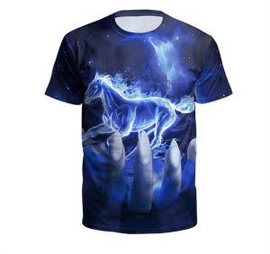 Flame Horse 3D Digital Printing Short-sleeved T-shirt for Men and Women-XL 1458267339