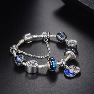 e215e9c40 Pandora Style 925 Silver Plated Sky Blue Star&Moon Beads fit Charm Bracelet  for Teen Girls 18cm