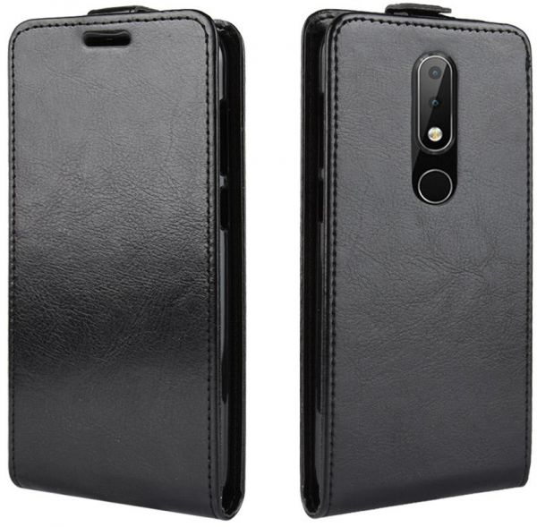 on sale f4aea a30a9 Nokia 6.1 Plus Case, Wallet LEATHER Card Slots Flip Cover - Black