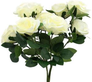 Artificial Flowers Fake Roses Flowers Bouquet Glorious Wedding Home Bridal Decoration, by Qings