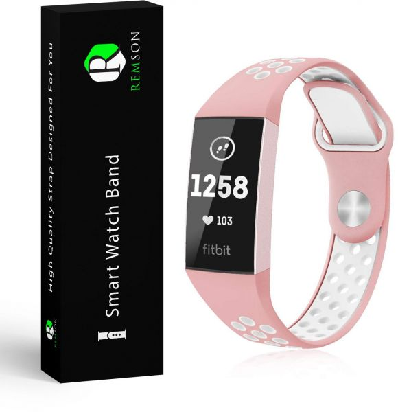 Fitbit Charge 3 Remson Silicone Sports Waterproof Strap Band Small - Pink &  White / RM-0277