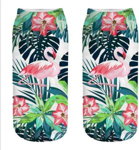 47498052b Women's Novelty Cotton Crew Low Cut Socks 3D Print Funny Crazy Flamingo  ankle Socks 02