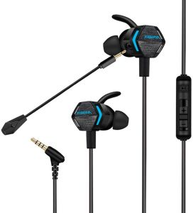 Gaming Earphones PS4 Xbox One In Ear 3.5mm with Detachable Dual Mic Voice Control Headphones