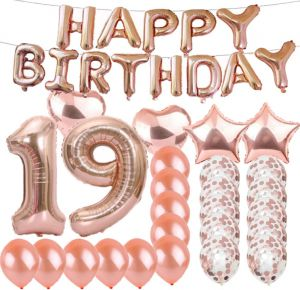Sweet 19th Birthday Decorations Party SuppliesRose Gold Number 19 Balloons Foil Mylar Latex Balloon DecorationGreat Gifts