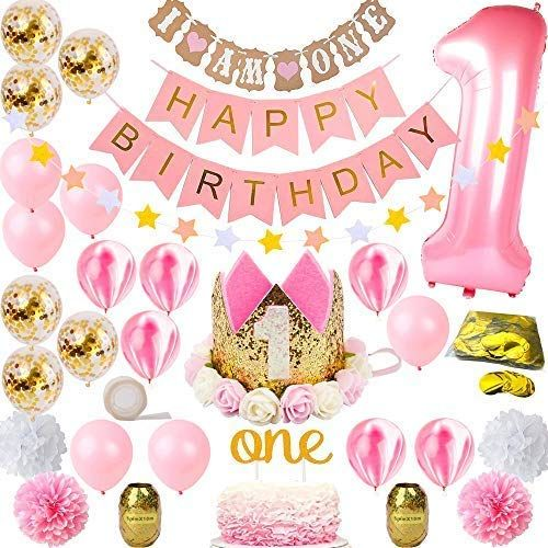 1st Birthday Decorations For Girl Mega Set Princess Pink And Gold Girls Theme Kit First Bday 1 Year Tiara Crown Hat Cake Topper Balloons Happy