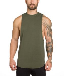 d5ac0e6fe1f795 Men s Fitness Running Vest Casual Exercise Cotton Stretch Sleeveless Vest  Breathable PerspirationSimple Muscle Tank Top