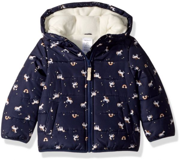 678828ad Carter's Little Girls' Fleece Lined Puffer Jacket Coat, Unicorn Navy, 5/6 |  Souq - UAE