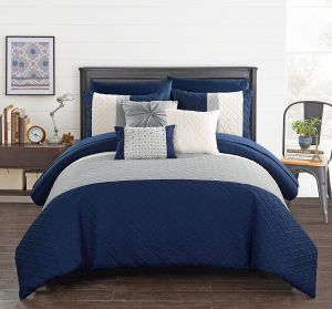 Chic Home Osnat 10 Piece Comforter Set Color Block Quilted