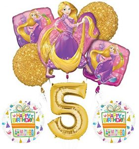 Tangled Rapunzel Disney Princess 5th BIRTHDAY PARTY Balloon Decorations Supplies