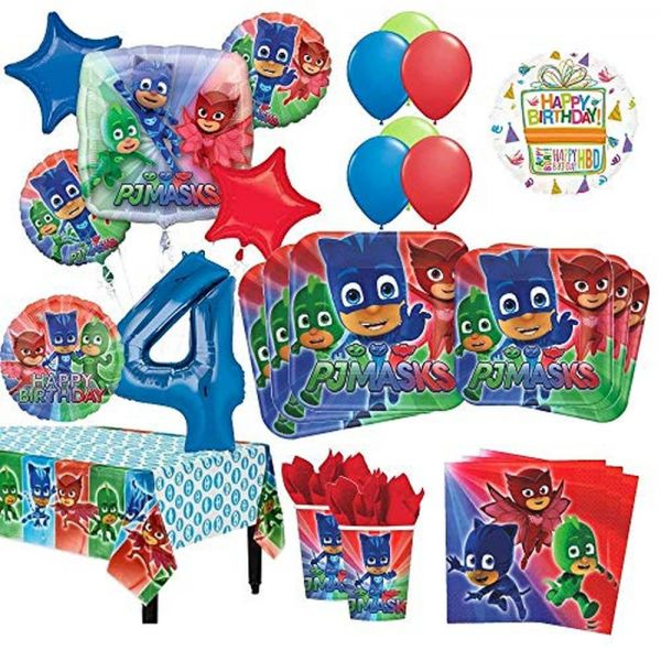 Mayflower Products PJ Masks 4th Birthday Party Supplies 8 Guest Kit