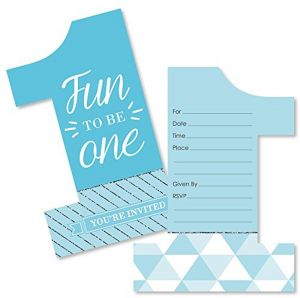 1st Birthday Boy Fun To Be One Shaped Fill In Invitations First Birthday Party Invitation Cards With Envelopes Set Of 12