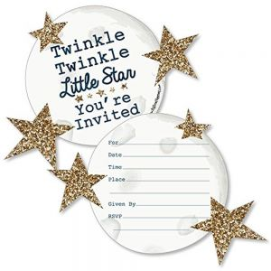 2ccc72de0 Twinkle Twinkle Little Star- Shaped Fill-in Invitations- Baby Shower or  Birthday Party Invitation Cards with Envelopes- Set of 12