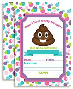 Poop Emoji Party Pooper Girl Birthday Invitations 20 5 X 7 Fill In Cards With Twenty White Envelopes By AmandaCreation