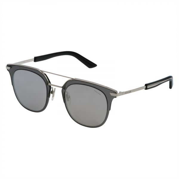 8dd25a45bef5 Police Oval Sunglasses for Men - Smoke Mirror Silver Lens ...