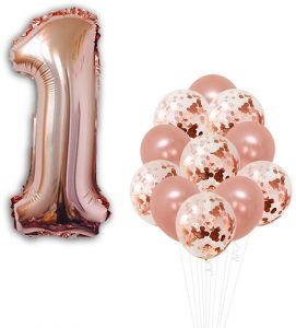 Rose Gold 1th Birthday Decorations Pack Of 21