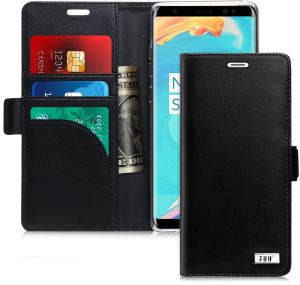 FYY Note 8 Case, Galaxy Note 8 Case, Genuine Leather Case, Handmade [RFID Blocking] Wallet Case with Kickstand Card Slots Magnetic Closure Protective Cover ...