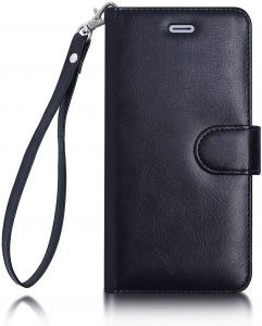 7ead883bac87 FYY iPhone SE Case, iPhone 5S Case, [Kickstand Feature] Flip Folio Leather  Wallet Case with ID Credit Card Pockets for Apple iPhone/5S/5/5C Black