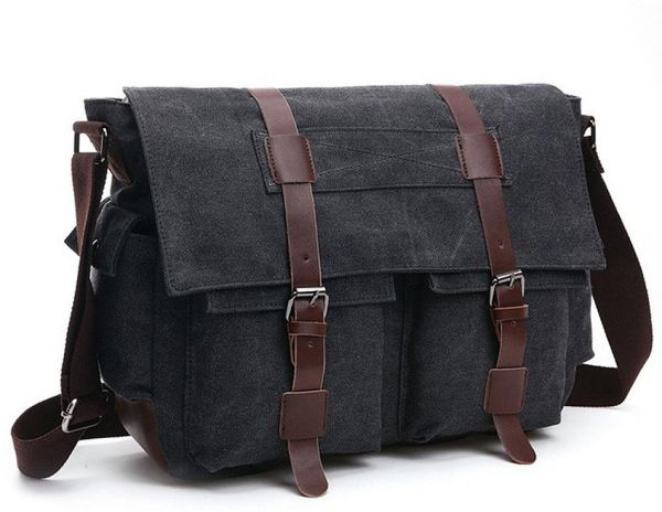 99f08af02a40 Shoulder Bag Men s Messenger Bags 16 Inches Vintage Military Canvas Laptop  Bag for Work and School Multiple Pocket