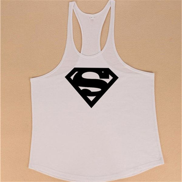 cfcb32e3b5b84c White Superman Fitness Men Tank Top Vest Undershirt Tank Tops