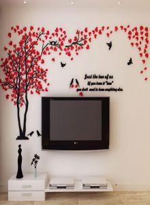 3d Wall Decals Crystal Acrylic Couple Tree Wall Stickers Diy Wall Decal Home Decor Art Decorations