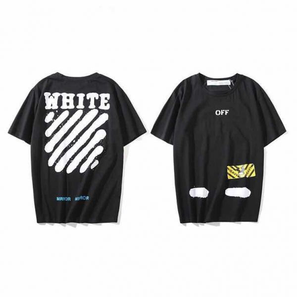 60d22beb399c Off-White Classical Black T-shirt Fashion Tee Unisex Short Sleeve For Men  and Women