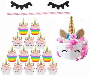Roll Over Image To Zoom In Unicorn Cupcake Wrappers Liners Golden Cake Topper Horn Ears With Flowers And Eyelashes Party Decoration Supplies Perfect For