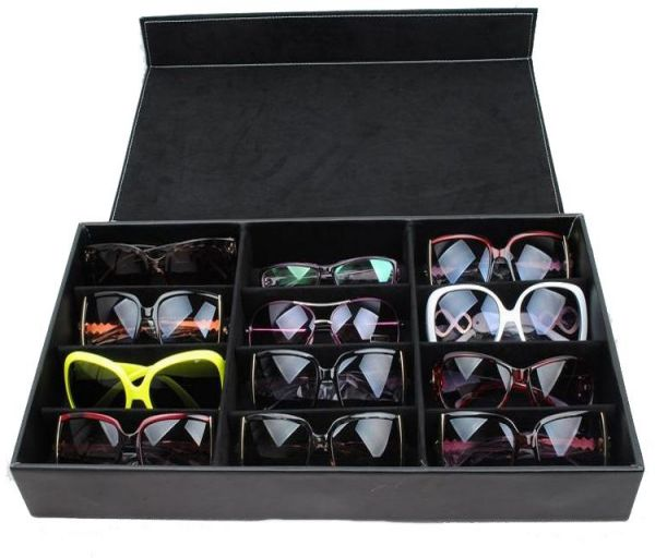 9760171b0a6 High-end Glasses Storage Box 12 Gird PU Leather Sunglasses Display Stand  Black Eyewear Sunglasses Accessories Collection Storage Case