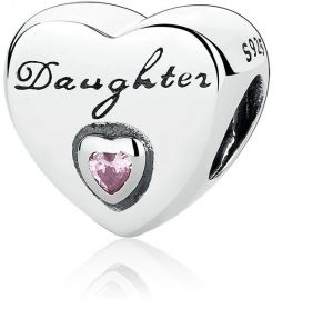 eeaf8c9a7 Daughter's Love Charm, Pink CZ 925 Sterling Silver Charms Fit Pandora &  Other European Charm Bracelets