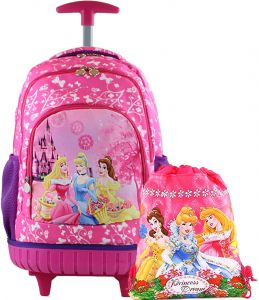 Kids School trolley Rolling Latop with one Drawstring Backpacks Princess  17inch 3-12years old 81bc8e9e3efde