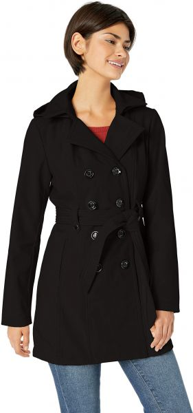 584422bbb64 Sebby Collection Women s Plus Size Soft Shell Trench Coat Water Resistant  with a Detchable Hood