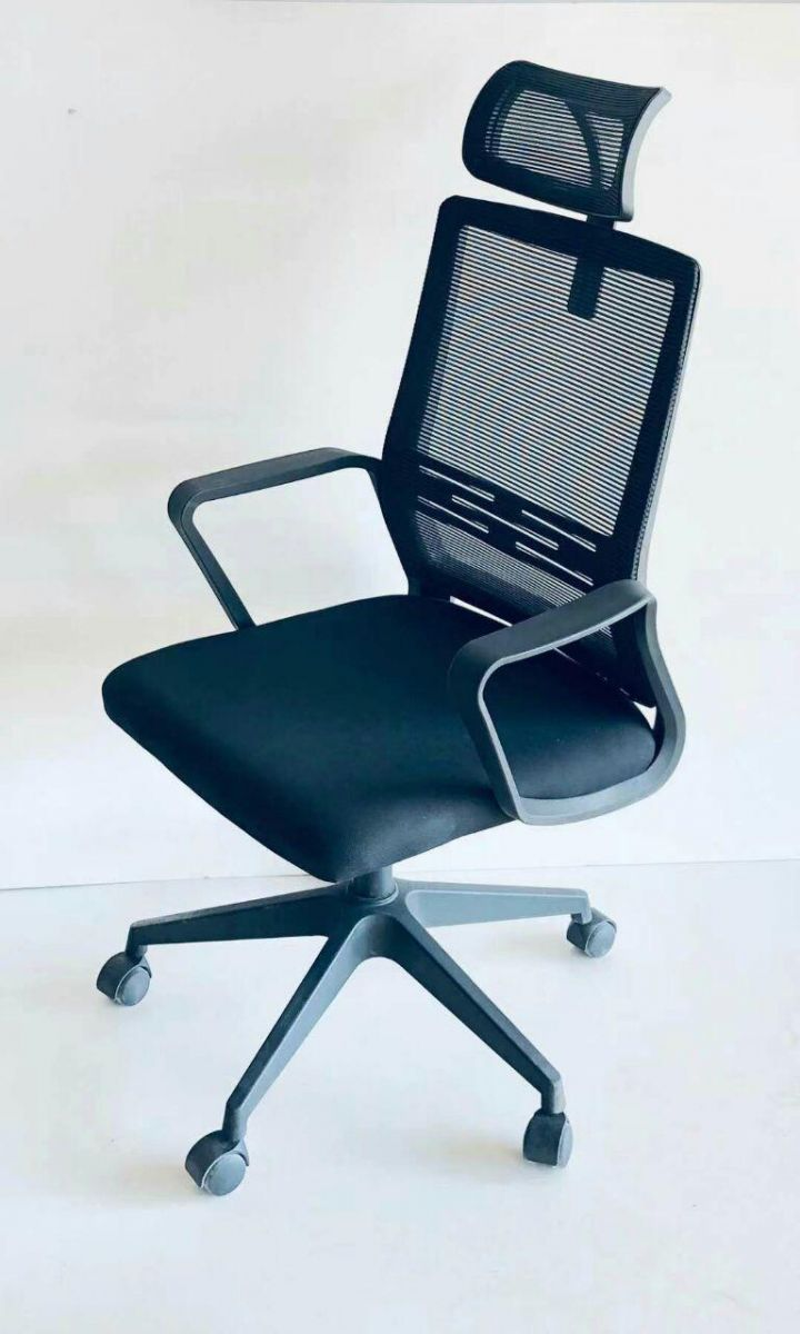 Kivik High-Back Black Mesh Chair, Height Adjustable Office Chair with Arm Connected