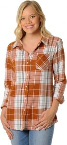 e0ec71e06f0 UG Apparel NCAA Texas Longhorns Women's Plus Size Boyfriend Plaid Shirt,  3X, Burnt Orange