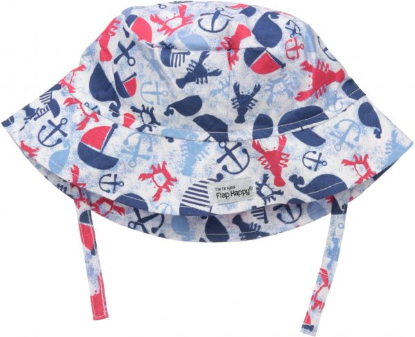 ee5f1dd93 Flap Happy Baby Boys UPF 50+ Bucket Hat with Chin Straps, Lobster Lagoon, L