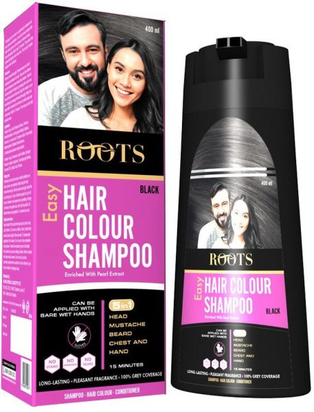 Roots Hair Colour Shampoo For Men & Women - Easy application for ...