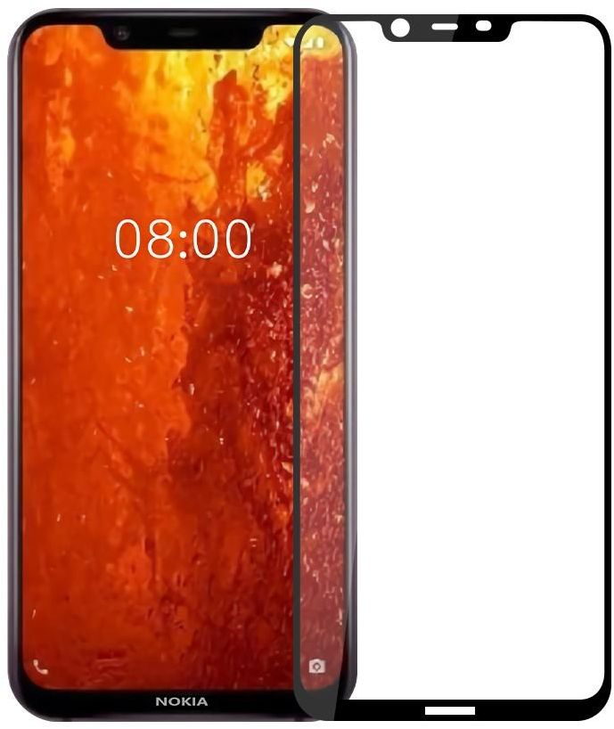 Nokia 8.1 Full Covering Tempered Glass Screen Protector - Black