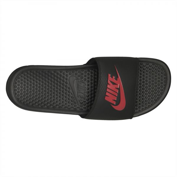 super popular f66df 5527e Nike Benassi JDI Slide Slippers for Men - Black Challenge Red   Souq - UAE