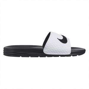 92d293e94 Nike Benassi Solarsoft Slide Sandals for Men - White Black