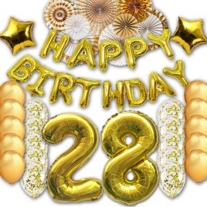 28th Happy Birthday Letter Party Balloons Banner Gold Decoration Supplies Big Foil Mylar Thick Latex For