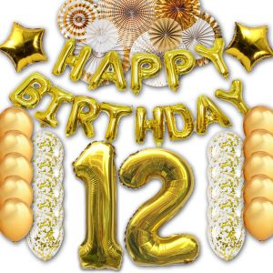 12th Happy Birthday Letter Party Balloons Banner Gold Decoration Supplies Big Foil Mylar Thick Latex For