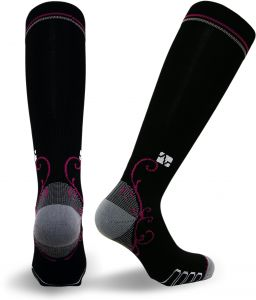 fdc385639c Vitalsox Italian Graduated Compression Socks (1 pair- fitted) for Women  Best For Running, Travel, Yoga, Nurses, Maternity Pregnancy, Black, Large