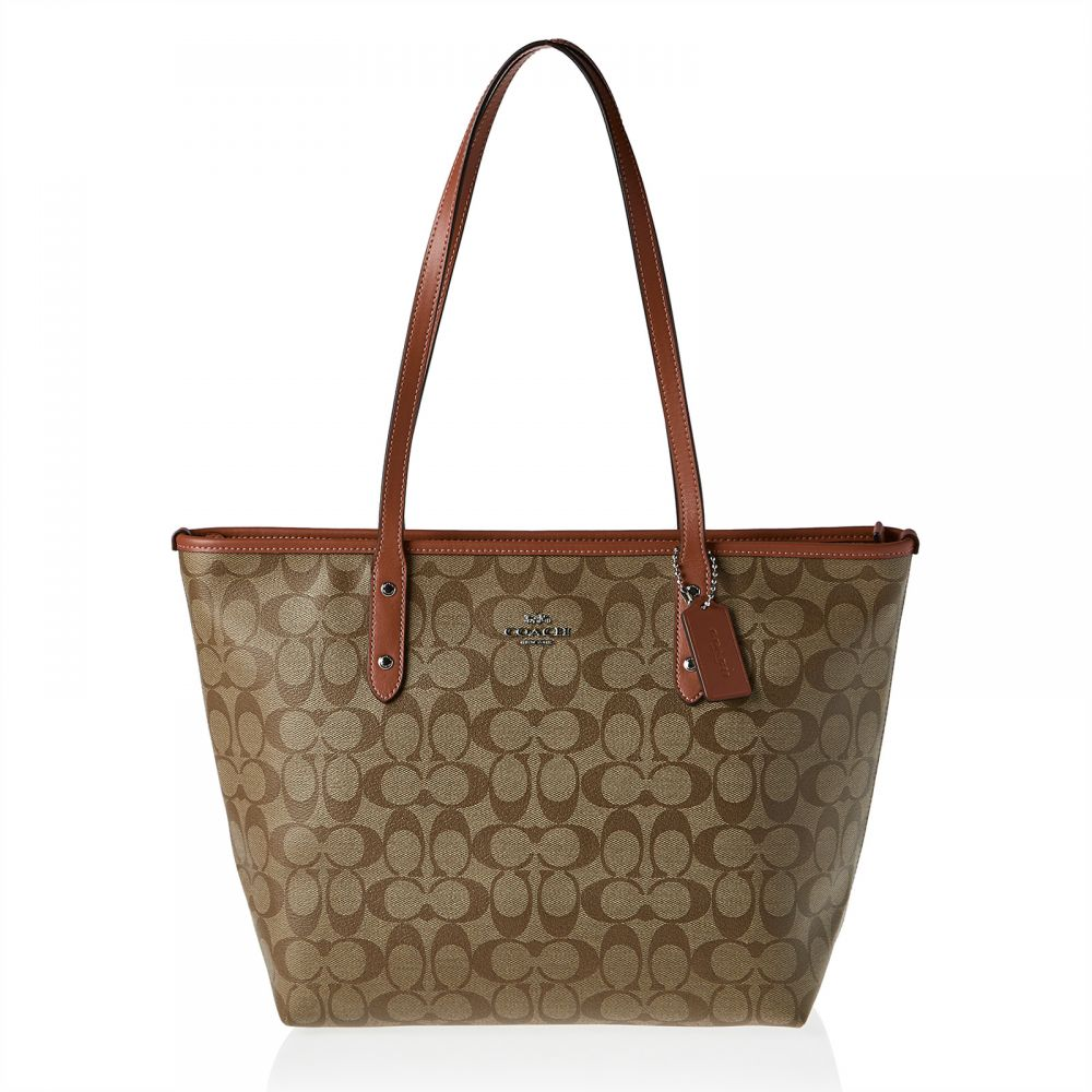 Coach F58292 Signature City Zip Tote Bag for Women - Leather, Brown
