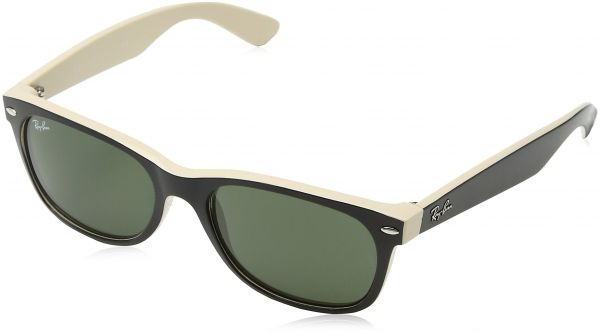 fc927abf281 Ray-Ban NEW WAYFARER - TOP BLACK ON BEIGE Frame CRYSTAL GREEN Lenses 55mm  Non-Polarized