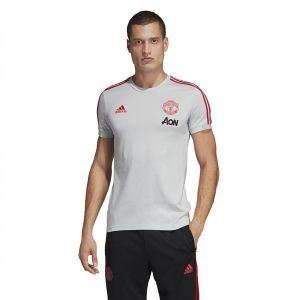 8e90d906c26c03 Adidas Weft knitted Manchester United T-shirt for Men - Clear Grey/Blaze Red
