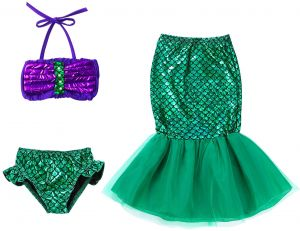 4408303196d77 Kids Toddler Girl Mermaid Costume Two Piece Swimsuit Bikini Set Bathing Suit  Mermaid Tail Skirt Outfit 3-10T