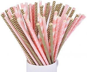 0fee4ca57bebb 100pcs set Drinking Paper Straws Decoration Supplies Disposable  Eco-friendly Straight Straw for Birthday Wedding Christmas Baby Shower  Celebration Parties